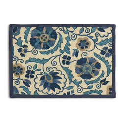 Blue & Beige Suzani Tailored Placemat Set - Class up your table's act with a set of Tailored Placemats finished with a contemporary contrast border. So pretty you'll want to leave them out well beyond dinner time! We love it in this eclectic swirling suzani in shades of blue & indigo on natural linen.