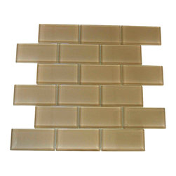 "Spa Glass - Beige 2X4 Subway Glass Tile, Beige, 2x4, Carton - CARTON of Beige 2X4 subway glass tile consisting of 20 square feet or sheets. This tile is manufactured in a thinner 1/8 inch thick format and is a high quality ""POOL RATED"" glass subway tile that is perfect for a kitchen backsplash, bathroom tile, shower tile or pool tile. Because the tiles are thinner and come mesh mounted in a staggered interlocking brick pattern, installation is much easier and much less expensive. The thinner profile eliminates the need for tear outs or large demolitions. You can tile over existing materials and eliminate installation cost ( think DIY).These are a very high grade glass subway tile kilned at 800 Celsius for maximum durability and come with a baked polypropylene backing which reflects the color back thru a very clear glass.  The tiles come in a 12X12 inch sheet consisting of 18 tiles 2X4 inches in size.  They come in boxes of 20 square feet or 20 sheets. There is also a SAMPLE option so you can confirm the color is perfect for your space. The Price listed is for a single CARTON OF 20 SQUARE FEET."