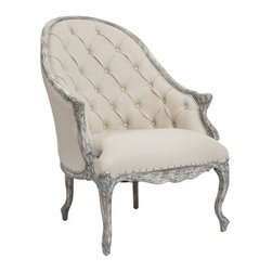Aidan Gray - Aidan Gray Leslie Salon Chair - Color/Finish: Barnwood, Spirit Light Linen Fabric