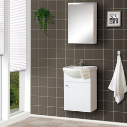 "BathAuthority LLC dba Dreamline - 17"" Wall-Mounted Modern Bathroom Vanity with Counter & Medicine Cabinet - DreamLine ceramic bathroom vanities are available in different styles and colors. Combining beauty with function, they would fit any bathroom design. Made with high quality MDF wood"
