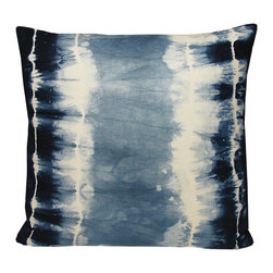 Shibori Linen Pillow - The Shibori linen pillow by Kevin O'Brien was inspired by ancient Japanese tie-dyeing techniques. It is mellow and calming and would look fabulous in a media room or a coastal interior.