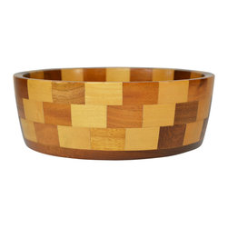 Lavish Shoestring - Consigned Chequered Wooden Cambridge Ware Barrington Bowl, Vintage English - This is a vintage one-of-a-kind item.