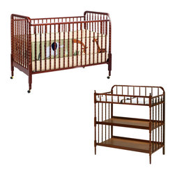 Da Vinci - DaVinci Jenny Lind 3-in-1 Stationary Convertible Mobile Wood Crib Set in Cherry - Da Vinci - Baby Crib Sets - M7391CM0302CPpkg - DaVinci Jenny Lind 3-in-1 Stationary Convertible Mobile Wood Crib Set in Cherry