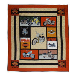 Patch Quilts - Motor Cycle, Duvet Cover Queen - Beautifully crafted cover with intricate applique. Machine washable, line or flat dry only. Patch Quilts - DCQMRCL