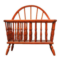 Pre-owned Small Vintage Canterbury Magazine Rack - Small vintage canterbury magazine or music rack constructed with 31 turned wooden legs. In excellent condition given age and use. Circa 1950. Solid and sturdy.