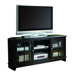 """Monarch Specialties - Monarch Specialties Transitional 60 x 18 TV Console in Black - This TV Console blends style and innovation in a classic transitional design. Finished in Midnight Black and constructed from solid wood and wood veneer this TV Console is sharp in appearance and function. The specifically designed chamfered corners (Side angles) allow for this console to be placed perfectly in the corner of the room or flat against any wall. The closed storage compartments and open center shelves are designed to accommodate most any Home entertainment components and feature framed and paneled tempered glass doors. This TV console will accommodate most Flat Panel TVs up to 72"""". What's included: Media Unit (1)."""