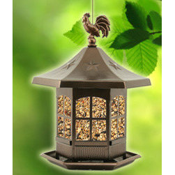 Perky Pet - WB Cupola Bird Feeder - Cupola Seed Feeder. 2 lb. seed capacity. Constructed from metal and plastic. Decorative mini rooster and stars on top of feeder.