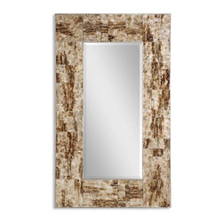 Uttermost - Durante Painted Glass Marbelized Mirror, Beveled 30x50 - The Durante mirror is encased in a stunningly beautiful painted glass frame and finished in marbled brown, tan, and ivory tones. A stand-out in any natural decor, this beautiful beveled mirror's extra wide frame makes it a delightful accent piece.