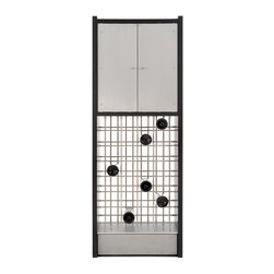 Peter Harrison - Infinity Wine Cabinet - 28 bottles of wine + storage for an array of glasses = one elegant cabinet. The Infinity wine cabinet features a mesmerizing base of stainless steel rods. These rods create a sculptural latticework that just happens to hold 28 bottles of wine. Above is an sleek cabinet with aluminum doors. The cabinet is divided by a glass shelf and will hold numerous wine glasses. Infinity packs a whole lot of function into a beautifully small footprint.