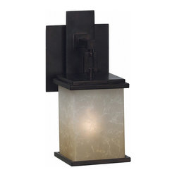 Kenroy Home - Kenroy 03372 Plateau 1 Light Sconce - An architectural classic, Plateau heralds its Craftsman roots, emphasizing clean geometric shapes.  The Oil Rubbed Bronze finish paired with Amber Marble glass makes a stunning look.