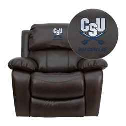"Flash Furniture - Charleston Southern University Buccaneers Brown Leather Rocker Recliner - Recline in your favorite position with this comfortably designed recliner. Proudly show off your favorite college team with this embroidered rocker recliner. The gentle rocking movement along with plush padding will have you at ease in moments!. Embroidered Charleston Southern University Recliner; Logo Embroidered on Headrest; Overstuffed Padded Seat, Back and Arms; Rocker Feature; Lever Recliner; Brown LeatherSoft Upholstery; LeatherSoft is leather and polyurethane for added Softness and Durability; CA117 Fire Retardant Foam; Overall dimensions: 43""W x 40"" - 66""D x 39""H"