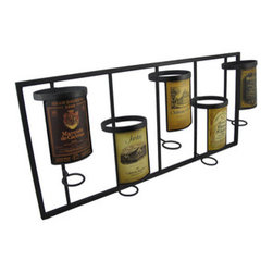 Vintage Label 5 Bottle Wall Mounted Wine Rack - This wall mounted wine rack holds 5 bottles of your favorite vino and adds a lovely decorative accent to your home. Made of metal, the rack measures 26 inches long, 12 inches tall, 4 1/2 inches deep and features 5 slots for up to 3 1/2 inch diameter bottles. Each slot features a different vintage label from various vineyards around the world. Slots in the back of the frame make it easy to mount to the wall with 2 screws (not included). This wine rack makes a great housewarming gift for a friend, and also looks great in restaurants or cafes.