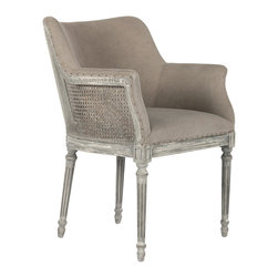 Kathy Kuo Home - Sue French Country Distressed Gray Caned Dining Arm Chair - Simple and sophisticated, this small side chair is perfect at the end of a table or a small niche in the home.
