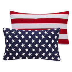 """Chloe and Olive - American Flag Throw Pillow, 12x20"""" - Add some all-american flair to your summer parties with a patriotic dose of red, white and blue decorative throw pillows by Chloe & Olive."""