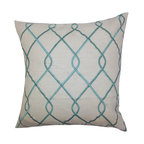 """The Pillow Collection - Jolo Geometric Pillow Aqua Blue 18"""" x 18"""" - This chic throw pillow offer comfort and style to your living space. Toss this indoor pillow for a transitional touch to your sofa, bed or seat. A geometric pattern in crisp aqua blue hue adorns this accent pillow. Made of 100% high-quality material, this toss pillow is perfect for any settings. Hidden zipper closure for easy cover removal.  Knife edge finish on all four sides.  Reversible pillow with the same fabric on the back side.  Spot cleaning suggested."""