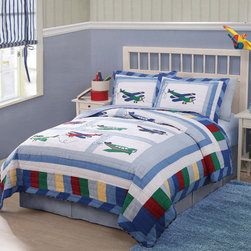 None - Fly Away Airplane Cotton 3-piece Quilt Set - Complete your child's bedroom with the Fly Away quilt mini set. Made of 100-percent cotton face and fill, the charming quilt features airplane designs and a mid weight fill for year round use. It has been prewashed for a heirloom feel and soft texture.