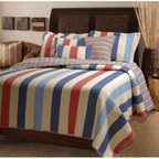 Greenland Home Fashions Austin Quilt Set - The Greenland Home Fashions Austin Quilt Set has a bright, busy look with a touch of Southwestern style. This charming quilt set features a cover and fill made from plush 100% cotton, keeping you warm in a soft, comfy package. The bold, striped pattern features denim blue, red, and bronco brown, and pairs well with urban, rustic, or any modern decors. One matching sham included in twin set; two matching pillow shams are included in full, queen, and king sets (dimensions: 20W x 26L inches). Available in king, queen/full, and twin sizes (see below for dimensions).Quilt DimensionsKing: 106W x 92L inchesQueen/full: 88W x 92L inchesTwin: 68W x 86L inchesAbout Greenland Home FashionsFor the past 16 years, Greenland Home Fashions has been perfecting its own approach to textile fashions. Through constant developments and updates - in traditional, country, and forward-looking styles the company has become a leading supplier and designer of decorative bedding to retailers nationwide. If you're looking for high quality bedding that not only looks great but is crafted to last, consider Greenland.