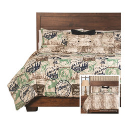 SIS Covers - SIS Covers Parks And Rec Duvet Set - 6 Piece Full Duvet Set - 5 Piece Twin Duvet Set Duvet 67x88, 1 Std Sham 26x20, 1 16x16 dec pillow, 1 26x14 dec pillow. 6 Piece Full Duvet Set Duvet 86x88, 2 Std Shams 26x20, 1 16x16 dec pillow, 1 26x14 dec pillow. 6 Piece Queen Duvet Set Duvet 94x98, 2 Qn Shams 30x20, 1 16x16 dec pillow, 1 26x14 dec pillow. 6 Piece California King Duvet Set Duvet 104x100, 2 Kg Shams 36x20, 1 16x16 dec pillow, 1 26x14 dec pillow6 Piece King Duvet Set Duvet 104x98, 2 Kg Shams 36x20, 1 16x16 dec pillow, 1 26x14 dec pillow. Fabric Content 1 100 Polyester, Fabric Content 2 100 Polyester, Fabric Content 3 100 Polyester. Guarantee Workmanship and materials for the life of the product. SIScovers cannot be responsible for normal fabric wear, sun damage, or damage caused by misuse. Care instructions Machine Wash. Features Reversible Duvet and Shams.