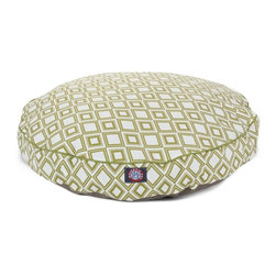 MAJESTIC PET PRODUCTS - Santorini Tiles Round Pet Bed - This stylish rectangular pet bed looks great in any room of your house and is filled with ultra-plush fiberfill for luxurious napping. The removable zippered slipcover is made from outdoor-treated, UV-protected polyester for durability, and the base is made from heavy-duty waterproof 300/600 denier fabric that can go inside or out. Spot clean the slipcover and hang dry. Comes in a variety of colors and patterns, so you can pick the one that complements your decor.