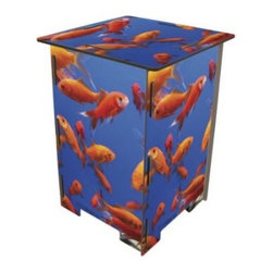 Goldfish Stool or End Table - Great for the nursery or playroom, this super cool stool is made up of colorful goldfish panels. Flat packed and easy to assemble (no tools!) Made of recycled materials compressed into a durable and strong surface. Lacquered.