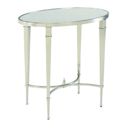 Hammary - Hammary Mallory Oval End Table - Accent your home with a charming set of occasional tables with the Mallory collection. Each-piece is finished in a silver nickel to instantly brighten up any room or living space. Reflective mirror table tops feature an antique treatment for a subtle vintage touch perfect for displaying flowers, artwork, and room decor. Graceful curves mixed with straight tapered legs complete each-piece for a look that can easily transition between casual and formal settings. Get that quaint cottage look you've always wanted with the Mallory accent table collection.