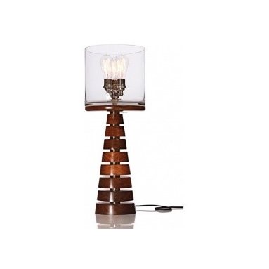 "Eco Friendly Furnture and Lighting - Talk about a statement piece! Modern and architectural, this table lamp is sure to light up your life! Sublimely crafted with mortise & tenon, dovetail and dowel reinforced joinery and finished with low VOC, hand rubbed, plant based oil and varnish... and oh-so-easy on the eyes! Lampshade is constructed from recycled aluminum and recycled glass, made with UL listed components and safety standards and supplied with fixture or cord mounted dimmers. The ultimate in urban sophistication shines through in the Metropolis Series No.6. Hand turned solid walnut segments separated by 1.5"" metal tubing gently tapers into a handblown glass shade accented by (3) 60 watt antique Edison reproduction filament bulbs. Natural variations in the glass allow for a distortion of light amplified by the warm beauty of the filament bulbs providing a soothing and useful light source."