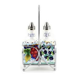 Artistica - Hand Made in Italy - Deruta Frutta: Oil and Vinegar Cruet Sq. Bottle on Chrome Rack - Deruta Frutta Collection: