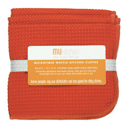 MU Kitchen Coral Waffle Microfiber Dishcloth Set - These beautiful MU kitchen waffle microfiber towels are made from the revolutionary microfiber  a specially designed cloth that is woven in a unique pattern from polyester fibers that create tiny scoops that suck up dirt and attract micro-particles. Microfiber is softer than silk and stronger than cotton. The cloth is so well crafted  it renders harsh cleaning chemicals entirely unnecessary.Product Features                      Set of 3 - 12 x 12 in. dish towels           Waffle microfiber          Extremely absorbent and quick drying          Lint free and amazingly soft          Clean and polish wet or dry          Reduces bacteria growth with quick drying time          Finished with a hanging loop for convenience
