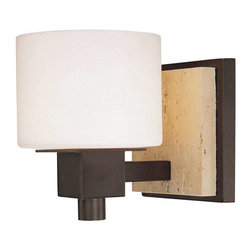 Minka Lavery - Minka Lavery 6151-244 Travertine Bathroom Light In Aged Stone W/Travertine Stone - Manufacturer: Minka Lavery