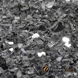 "Finishing Touch Products - 8 Pound Container of 1/4"" Gunmetal Gray Metallic Fireglass - Contains: 8 LB Container"