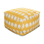 Majestic Home - Indoor Yellow Ellie Large Ottoman - As comfy as it is cute, this awesome elephant ottoman makes a great addition to your favorite casual setting. It's an update on the beanbag that serves as a footstool, coffee table or seat and is easy to clean: Just unzip the cotton twill slipcover and toss it in the wash.