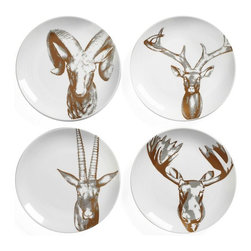 Golden Antler Appetizer Plate Set - For a rustic touch, serve the salad (or dessert) on these plates at your next dinner party. They're perfectly masculine yet still whimsical.