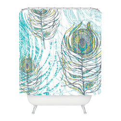 DENY Designs - Rachael Taylor Peacock Feathers Shower Curtain - Who says bathrooms can't be fun? To get the most bang for your buck, start with an artistic, inventive shower curtain. We've got endless options that will really make your bathroom pop. Heck, your guests may start spending a little extra time in there because of it!