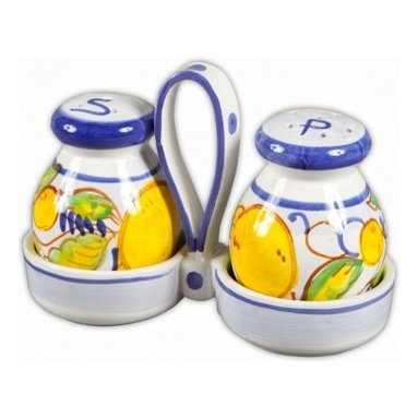 Ceramic - Italian Limoncello Salt and Pepper Set with Caddy - Italian Limoncello Salt and Pepper Set with Caddy