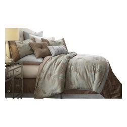 Penelope Floral 8-piece Jacquard Comforter Set Queen Taupe - Bring adventure into your room with this Jacquard Comforter Set. The polyester jacquard gives a beautiful look and feel to the top of bed with a touch of sheen. The polyester filling gives a fluffiness to this comforter set while the bar tacking details give a more formal finished look.