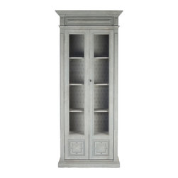 Kathy Kuo Home - Bernard Masculine Regency Style Antique Gray Distressed Tall Cabinet - A modern take on grandma's china closet, this charming curio cabinet holds dishes, glassware and collectibles behind two tall glass doors. Antique distressed elm is finished in weathered grey with hints of sage green. Whether you're into vintage, eclectic or French Country, this stately cabinet will add just the right storage to your space.