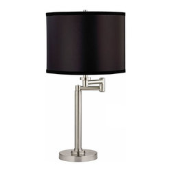 Design Classics Lighting - Adjustable Swing-Arm Table Lamp with Black Shade - 1902-09 SH9557 - Satin nickel swing-arm table lamp with black paper lamp shade. Swing arm has a maximum 9-inch extension. Takes (1) 100-watt incandescent A19 bulb(s). Bulb(s) sold separately. UL listed. Dry location rated.