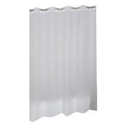 """EZ-ON PEVA Shower Curtain in Frosty Clear - """"Ez On"""" EVA shower curtain with built in shower curtain hooks:  size 70"""" wide x 72"""" long; color Frosty Clear. Make installing or removing your shower curtain nuisance free with our EZ-ON PEVA Shower Curtain (standard size 70'' wide x 72'' long). Using patented Hookless technology, our EZ-ON curtains come with built in flat top rings that simply snap on to your existing shower curtain rod--pesky hooks no longer necessary. Additionally, this curtains heavy (6 gauge) PEVA material wipes clean like a vinyl but lacks both PVC and the chlorine tending to give vinyl curtains an unseemly chemical smell. PEVA is also inherently resistant to mildew and mold. This water repellant curtain does not require a separate liner and serves nicely as a nuisance-free liner itself. Here in Frosty Clear, this style curtain is available in ivory, white, or super clear.  Wipe clean with damp sponge with warm soapy cleaning solution"""