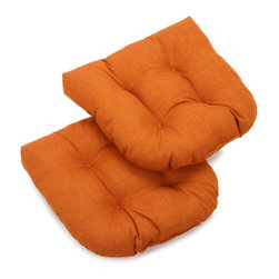Blazing Needles - Blazing Needles Outdoor Spun Poly Chair/Rocker Tufted Cushions (Set of 2) - Add vibrant color to your outdoor patio furniture with these bright spun-polyester chair/ rocker cushions from Blazing Needles. Perfect for outdoor use,these beautiful tufted cushions will lend comfort and style to your outdoor living space.