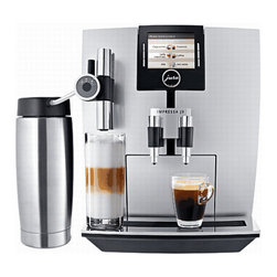 """Jura Capresso - Jura Capresso Impressa J9 One Touch Super Automatice Espresso Machine - Silver - The Jura-Capresso Impressa J9 One Touch's advanced capabilities and a quiet sophistication makes it a great choice for the modern coffee and espresso lover. This super-automatic espresso machine can prepare a wide variety of drinks at the touch of a button. Even milk-based specialty beverages, such as a macchiato or cappuccino can be made on demand. The thoughtfully designed Jura-Capresso Impressa J9 also has a height-adjustable drink dispenser, so you'll be able to brew into anything from a tiny espresso cup to a 6"""" tall glass."""