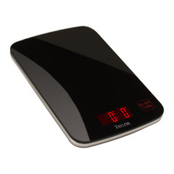 Taylor - Taylor Black Glass Digital Kitchen Scale - The Taylor Black Glass Digital Kitchen Scale has an 11-pound capacity and can be used with a variety of bowls and trays. This kitchen scale features a black back-painted glass platform that resists staining and food carry over.