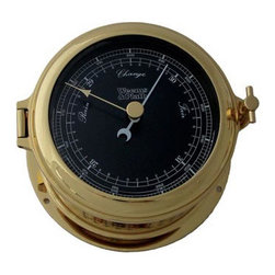"""Weems & Plath Martinique Barometer Black Dial - The weems  plath martinique barometer black dial measures 4"""" dial x 5.5"""" base x 2.75"""" depth. The front-opening hinged bezel case is constructed of solid, forged brass with a coat of lacquer to ensure a lasting shine. This barometer is calibrated for altitudes to 3,500' above sea level. It features fully adjustable, temperature compensated aneroid movement with inch and millibar scales. Several wood bases are available for this barometer. It comes with complete instructions and mounting hardware. This item carries a limited lifetime warranty."""