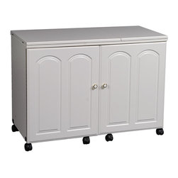 """Sewingrite - Sewingrite Model 5200 Ultimate Sew And Serge Credenza Ultimate 2 Drawer White - Sewing Cabinets Model 5200 Ultimate Sew & Serge Credenza. Dimensions: 42"""" (84"""" open)W x 19 3/4 D x 30 1/4 H. Opening is 24"""" by 11 5/8"""". Shipping Weight: 175 lbs."""