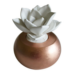 Waterstone Succulents - White Succulent Sculpture in Round Container, Rose Gold - A handmade succulent sculpture with interchangeable container. The perfect accessory for the modern home or office, and a great gift for any occasion. Creates the feel of a live plant minus any of the maintenance. Beautiful as an individual decorative accessory or grouped into sets of 3 or more.