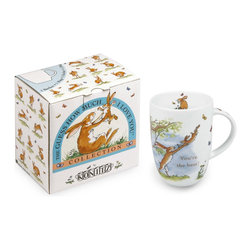 """Konitz - Set of 4 Mugs Guess How Much I Love You """"You're the Best!"""" - The long-eared hares of this beloved children's story dance playfully across the surface of a porcelain mug. Caption reads """"You're the best!"""""""