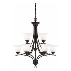Volume Lighting - Volume Lighting V5249 Trinidad 9 Light 2 Tier Chandelier - Nine Light 2 Tier Chandelier from the Trinidad CollectionAdd a splash of elegance to your home with this brilliant 9 light chandelier featuring marvelous alabaster glass in a stunning bell shade.Features: