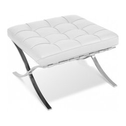 Ariel - Rohe Style Classic Designer Barcelona Ottoman In White Top Grain Italian Leather - From the hand-polish stainless steel frame to the individual leather squares carefully welted together, the Rohe Style Classic Designer Barcelona Ottoman was designed for simplicity and cushioned for comfort. Mix and match with the Rohe Style Classic Barcelona Chair of your choice to complete the desired look of your living room space!