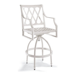 Frontgate - Grayson Set of Two Swivel Outdoor Bar Stools in White Finish, Patio Furniture - Crafted of 100% ingot aluminum. Solid cast back details and cast aluminum seat. Smooth swivel mechanism. Use with or without cushions (sold separately). Glossy White Finish. Comfortable and substantial, our Grayson Swivel Bar Stool is perfect for entertaining outdoors. Its breezy lattice back and airy design is achieved in solid aluminum. This timeless collection is elegant without being fussy. Made to endure season after season with hand-filed welds, a durable powdercoated finish and all-weather cushions.Part of the Grayson White Collection.  .  .  .  .  . Designed exclusively for Frontgate . Requires some assembly . Imported.