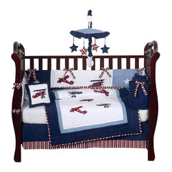 Sweet Jojo Designs - Aviator 9-Piece Crib Bedding Set - Even the littlest pilots will appreciate the patriotic appeal of this red, white and blue bedding set. It includes everything you need to outfit the nursery, from bedding to toy bag and diaper stacker to window valance.