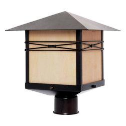 Joshua Marshal - One Light Burnished Iridescent Glass Post Light - One Light Burnished Iridescent Glass Post Light